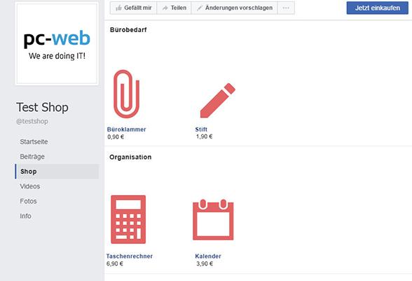 Ansicht eines Test-Facebook-Shop
